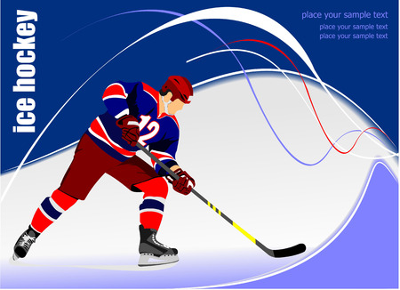 Ice hockey player poster. Vector