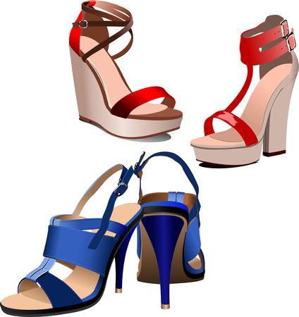 tienda zapatos: Moda mujer zapatos de color azul cartel.