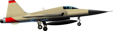 battle plane: Combat aircraft. Colored illustration for designers