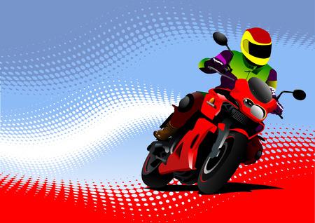 motor race: Motorrijden achtergrond met motorfiets beeld. Ijzeren paard. Stock Illustratie