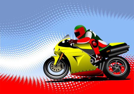 motorcycle helmet: Abstract  background with motorcycle image.  Illustration