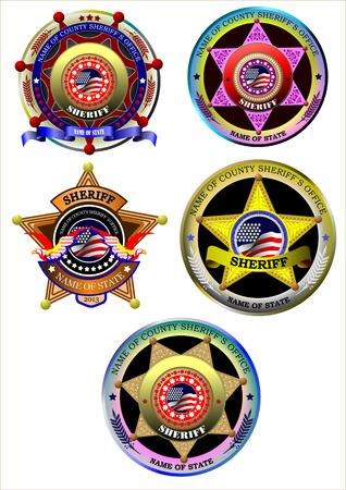 sheriffs: Set of Sheriffs badge on a white background.