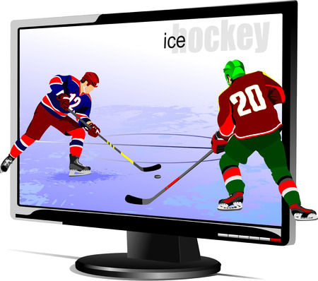 people watching tv: Background with Flat computer monitor with hockey players image.