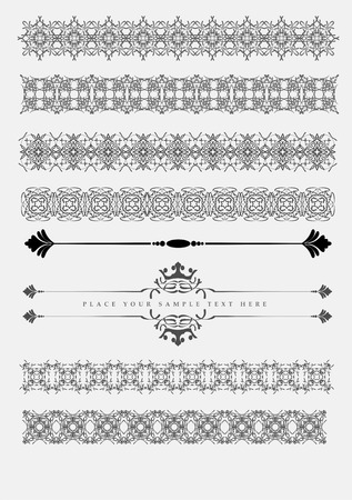flower tattoo design: Collection of Ornamental Rule Lines in Different Design styles