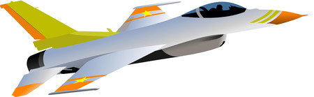 jet fighter: Combat aircraft. Armed.Vector illustration for designers