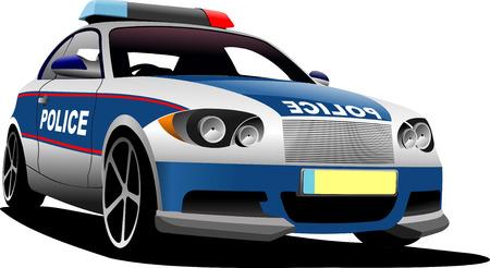 Police car. Municipal transport. Vector illustration. Vetores