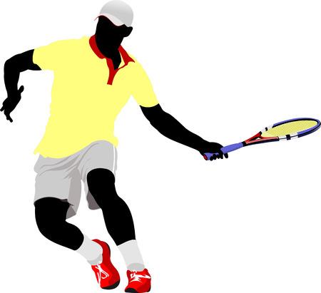 tennis serve: Tennis player. Vector illustration for designers