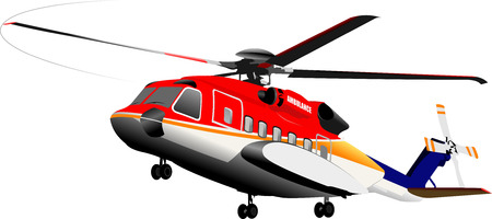 Ambulance or army helicopter. Vector illustration