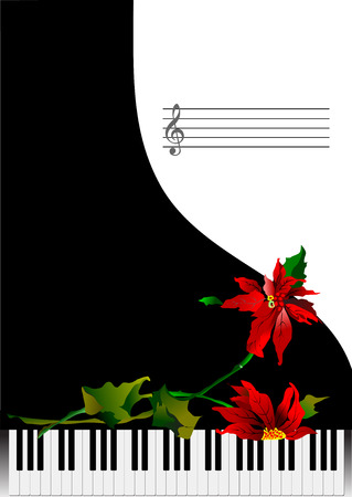 melodist: Template greeting card with piano and flower or cover for notes. Vector illustration Illustration