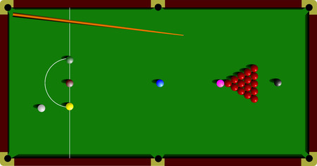 pool hall: Snooker table and cue. vector illustration