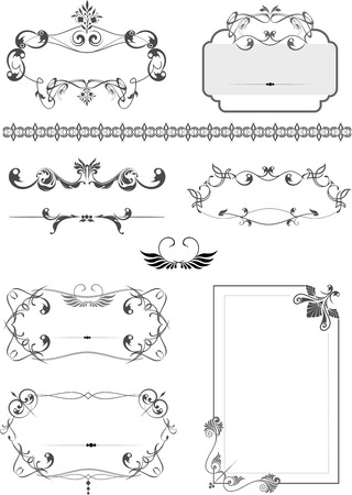 Big collection of ornate vector frames and ornaments with sample text. Perfect as invitation or announcement. All pieces are separate Vector