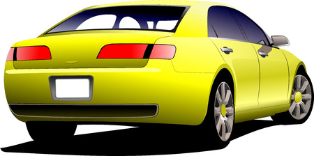 yellow car: Yellow car sedan on the road. Colored Vector illustration. Illustration