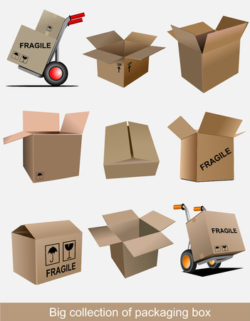 Big collection of carton packaging boxes. Vector illustration Vector
