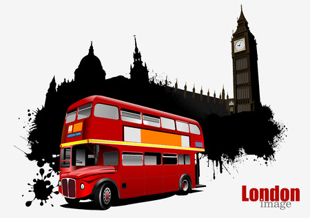 double decker: Grunge London banner with double Decker bus images. Vector illustration