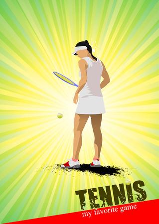 serve: Woman tennis poster. My favorite game. Vector illustration Illustration
