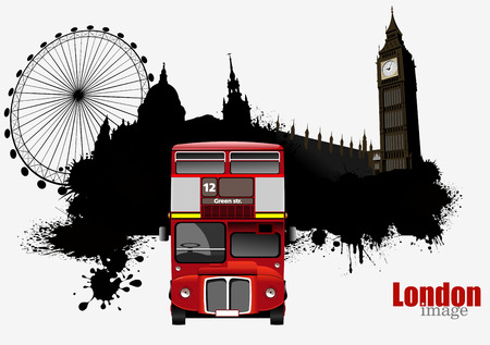 vector images: Grunge London images with buses image. Vector illustration
