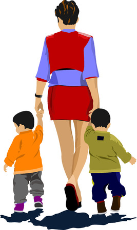 stride: Mother walking with two children. Vector illustration
