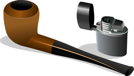 tobacco pipe: Tobacco pipe and lighter. Vector illustration Illustration