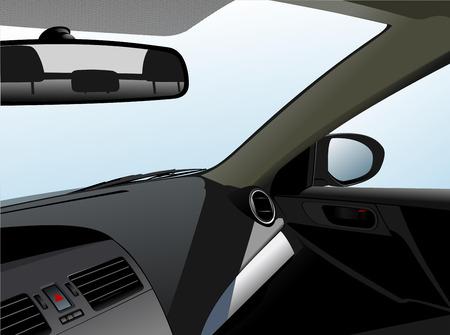 Car dashboard and interior. Vector illustration Illustration