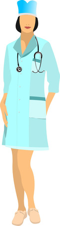 smock: Nurse woman with white doctor`s smock. Vector illustration