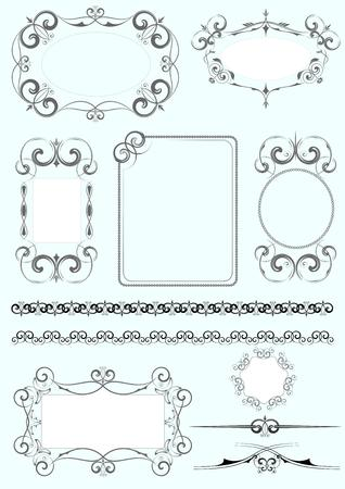 victorian people: Collection  of ornate vector frames and ornaments with sample text. Perfect as invitation or announcement. Vector  illustration