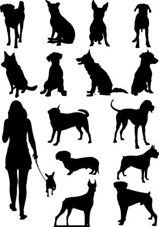犬のシルエットのセット。ベクトル図