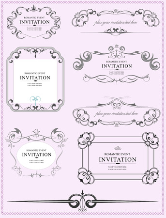 royal frame: Collection of ornate vector frames and ornaments with sample text. Perfect as invitation or announcement.