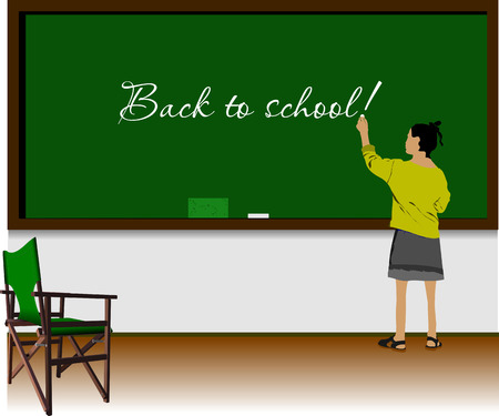 lefthand: Left-hand girl  in classroom. Back to school. Vector illustration Illustration