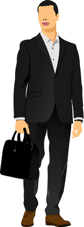 fullbody: Young man with bag. Colored Vector illustration Illustration