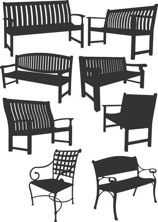 yard furniture: Big collection of garden benches.  Vector illustration