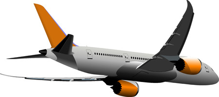 plane landing: Airplane on the air. Vector illustration