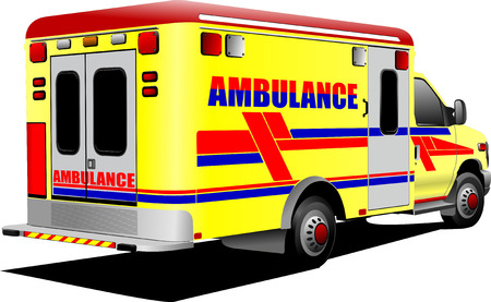 Modern ambulance van over white. Colored vector illustration Vector