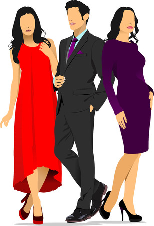 fiatal nők: Fiatal jóképű férfi és két fiatal nő. Üzletember. Üzletasszony. Vektoros illusztráció