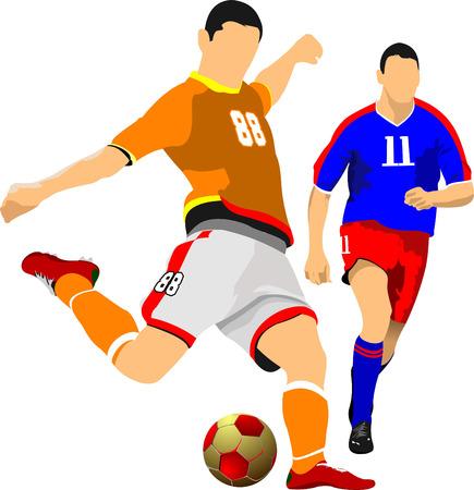 Twee voetballers. Vector illustratie Stock Illustratie