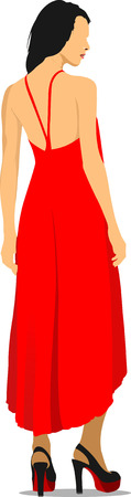 Modern young girl in red. Colored Vector illustration Vector
