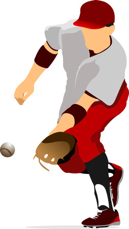 baseball catcher: Baseball player. Vector illustration