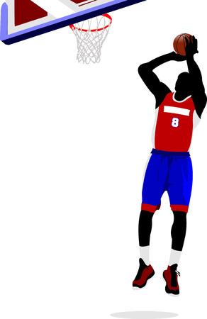 slam dunk: Basketball players. Vector illustration