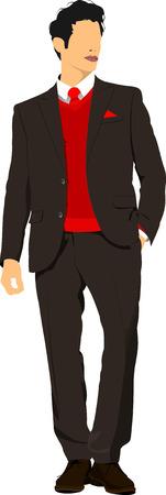 hombre guapo: Hombre hermoso joven. Businessman.Vector ilustraci�n