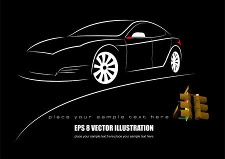Weißes Auto Silhouette und Ampel auf schwarzem Hintergrund. Vektor-Illustration Standard-Bild - 31244309