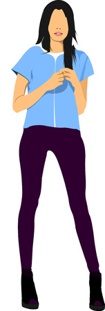 cute lady: Cute lady in blue. Vector illustration