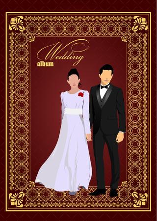 wedding reception: Cover for wedding album. Bride and groom. Vector illustration  Illustration