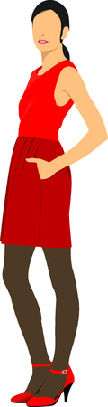 cute lady: Cute lady in red. Vector illustration Illustration