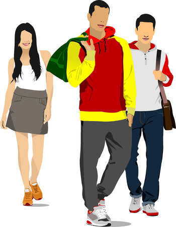 fullbody: Two young handsome men and young woman. Sport. Vector illustration