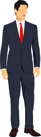 fullbody: Young handsome man. Businessman.Vector illustration Illustration