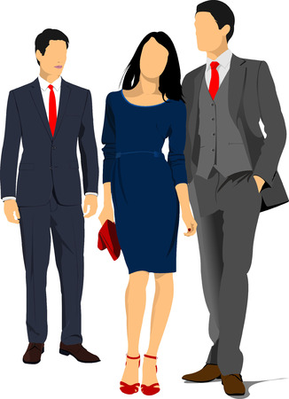 Two young handsome men and young woman. Businessman. Business woman. Vector illustration