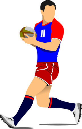 scramble: Rugby Player Silhouette. Vector illustration Illustration