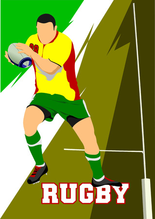 football tackle: Rugby Player Silhouette. Vector illustration Illustration