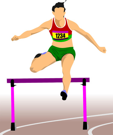track and field: Woman running hurdles. Vector illustartion