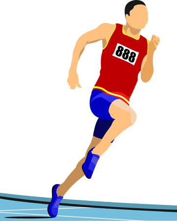 track and field: Long-distance runner. Short-distance runner. Vector illustration