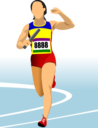 track and field: Short-distance runner. Relay. Vector illustration Illustration